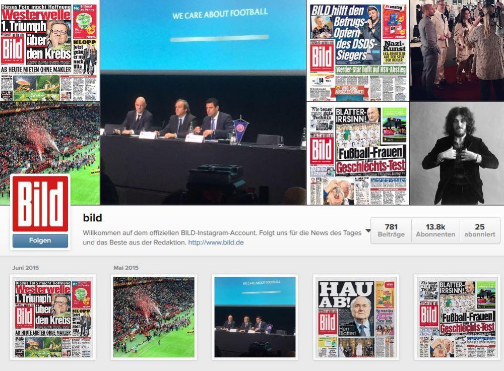 Alles fürs Image: BILD, t3n und Buzzfeed bei #Instagram (5/6)